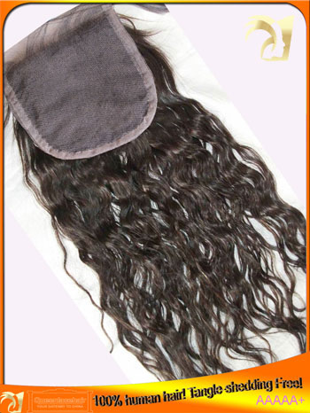 Indian Virgin Human Hair Lace Closure,Middle,Free,3 Part