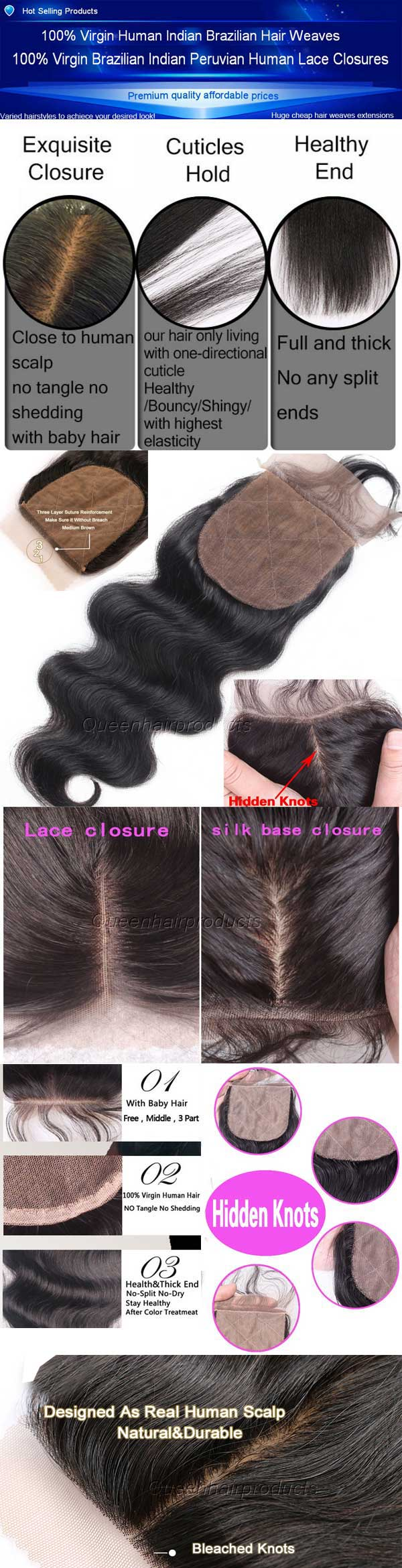 Brazilian virgin human hair silk base top quality lace for What do we use silk for