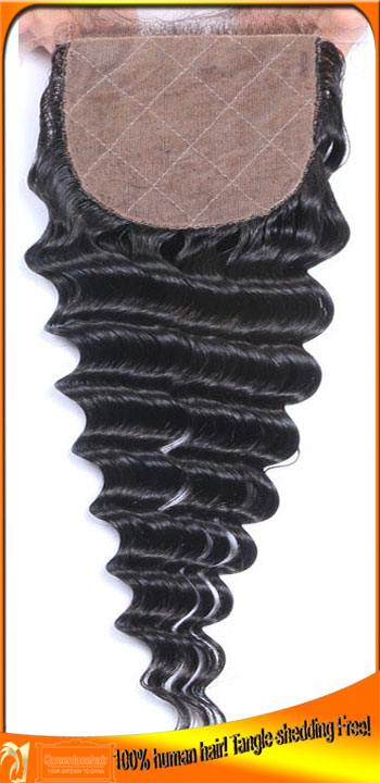Indian Virgin Silk Base Top Quality Lace Closures,Size 4*4,Invisible Knots