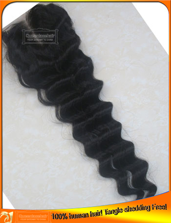 Good Quality Deep Wave Human  Lace Top Closures,Wholesale Price