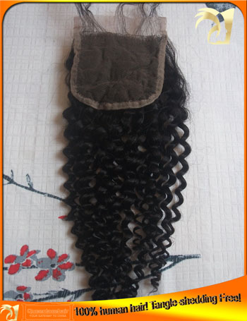 Best Quality Indian Kinky Curly Top Lace  Closures,Bleached Knots,Tangle Shedding Free,Free shipping