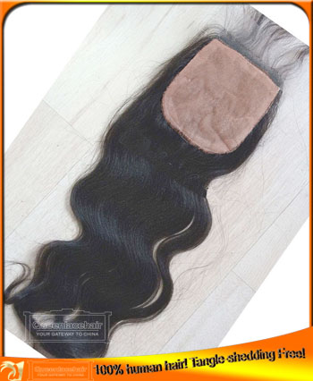 Indian Virgin Human Hair Body Wave Silk Based Top Closure 4x4,Affordable Price