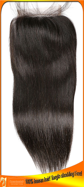 Wholesale Brazilian Virgin Straight Human Lace Closures,Free,Middle,3 Part