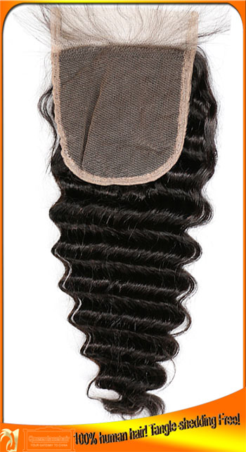 Deep Wave Good Quality Peruvian Human Hair Lace Top Closure,Affordable Price