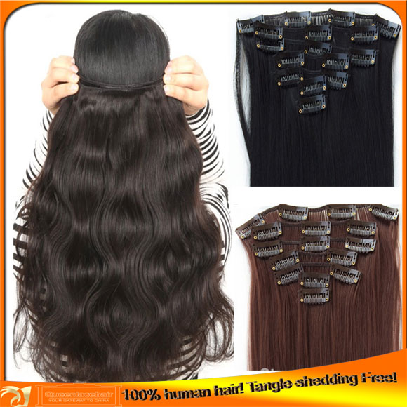 Cheap Indian Human Clip on Hair Extensions