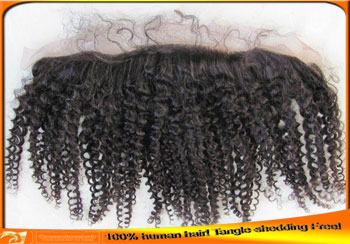 Wholesale Indian Virgin Kinky Curl Human Hair Full Lace Frontal Closure Pieces with Babyhair